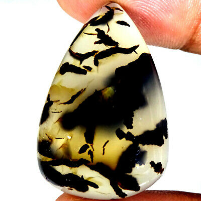 Natural Scenic Dendritic Agate Cabochon Gemstone 40.50 Cts 20x31x8 mm Pear Shape
