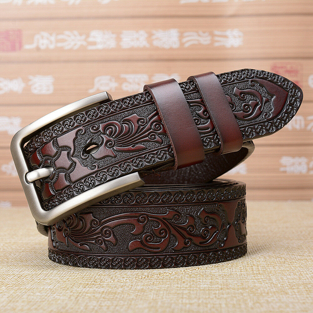 Mens Genuine Leather Dragon Embossed Belt Vintage Pin Buckle Waistband Luxury