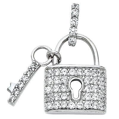 Diamond Key Charm - 14K White Gold 0.45 Ct. Diamond Pave Lock Key Pendant Charm  7/8