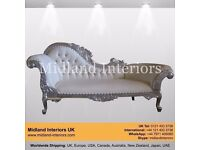 NEW Paris Chaise Longue French Sofa - Silver & White - Luxury Asian Wedding Gothic Antique Furniture