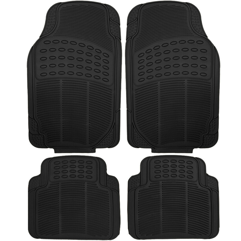 Car Floor Mats for All Weather Rubber 4pc Set Semi Custom Fit Heavy Duty Black