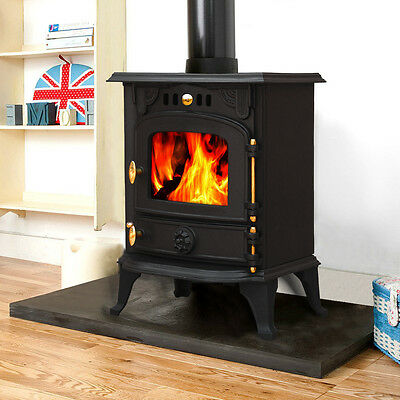 Harmston 5.5KW Multifuel Cast Iron Log Burner Wood Burning Stove Fireplace New