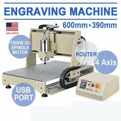 1500w 4 Axis Usb 6040 Cnc 3d Router Engraver Engraving Desktop Carving Machine
