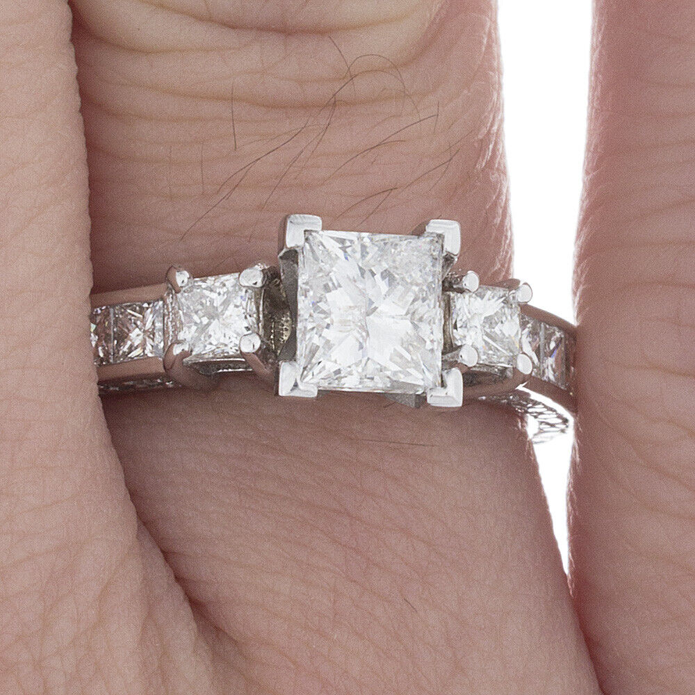 GIA Certified Diamond Engagement Ring 3.02 Ct Princess Cut 14k White Gold