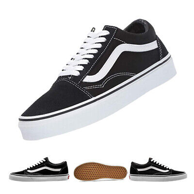 VAN Old Skool Skate Shoes Black/White All Size Classic Canvas Sneakers Lowtop UK
