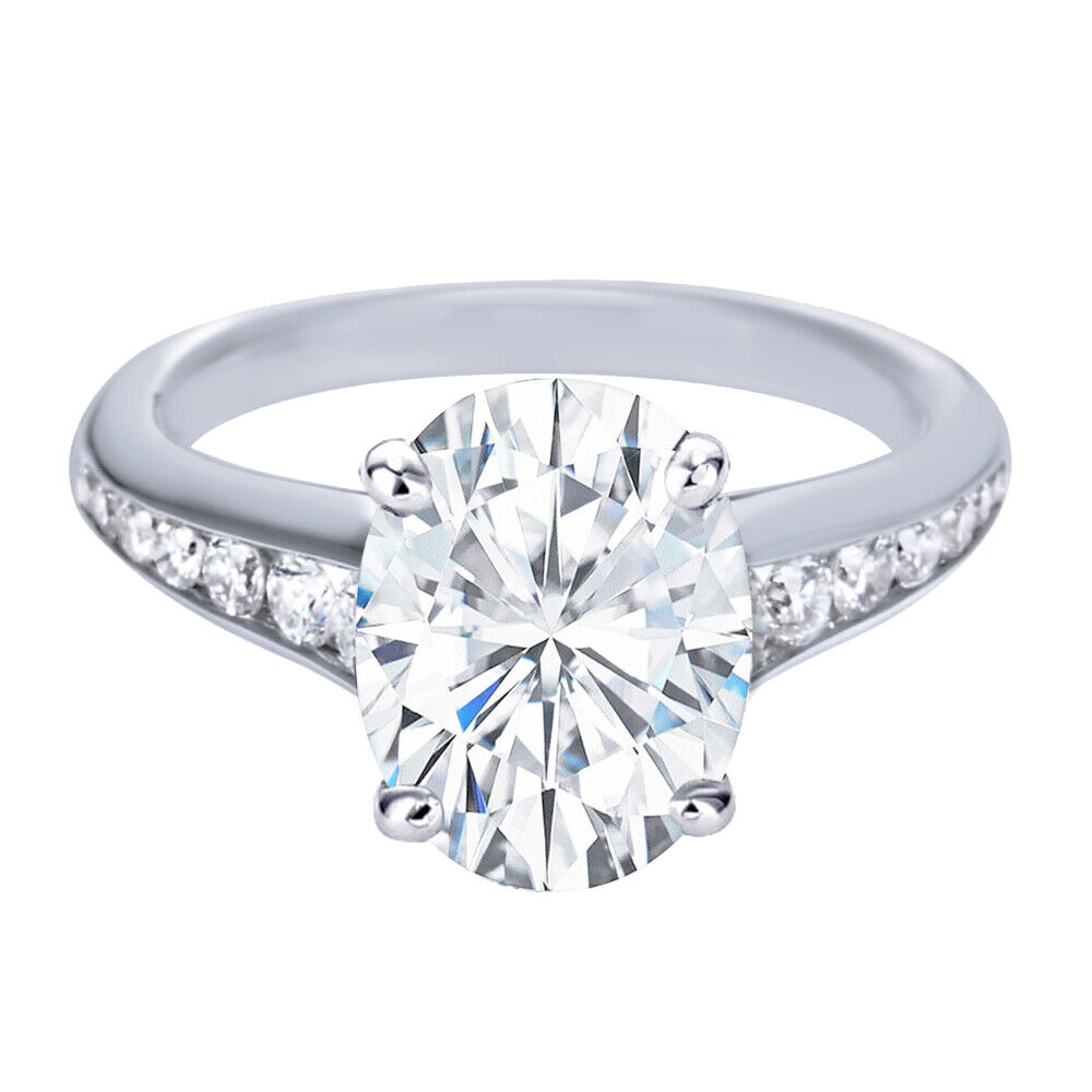 GIA Certified Diamond Engagement Ring 1.45 CTW Oval & Round Shape 18k White Gold