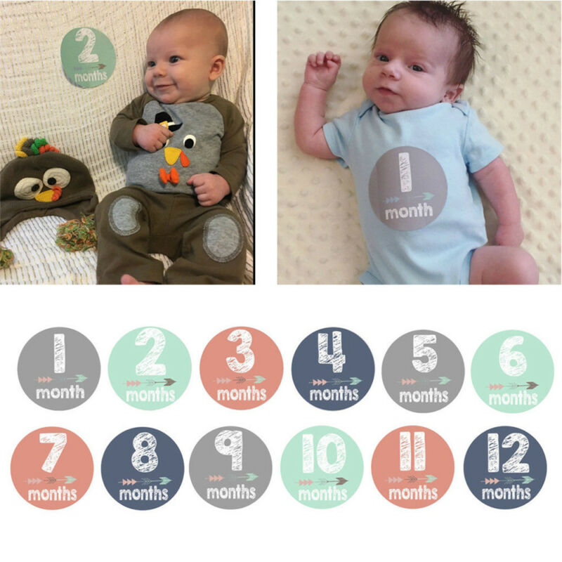 12pc Baby Monthly Cards Sticker Photography Photo Age Cards Baby Shower Registry