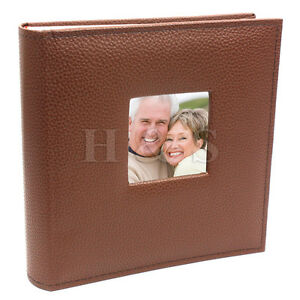 6x4-200-Photos-Large-PU-Leather-Slip-in-Photo-Album-Brown-Vintage-Memo-Book-B
