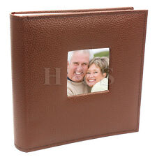 "6x4"" 200 Photos Large PU Leather Slip in Photo Album Brown Vintage Memo Book --B"