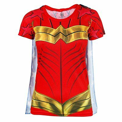 Damen Offiziell Wonder Woman Superheld Kostüm T-Shirt mit Cape Rot DC - Comics Wonder Woman Kostüm