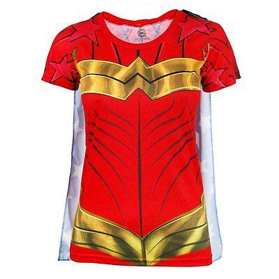 Damen Offiziell Wonder Woman Superheld Kostüm T-Shirt mit Cape Rot DC (Offizielle Wonder Woman Kostüm)