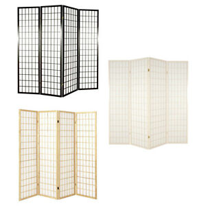 shoji 4 panel hinged room divider screens natural dark brown or white