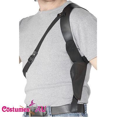 Leather Look Gun Shoulder Holster Cop FBI 20s Gangster 1920s Costume Accessories