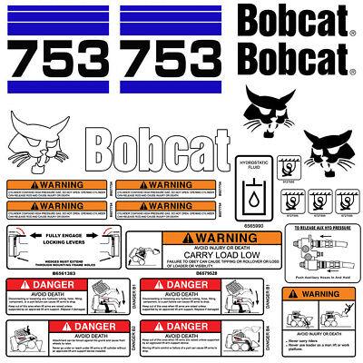 Bobcat 753 V2 Skid Steer Set Vinyl Decal Sticker Bob Cat Usa - 25 Pc Set