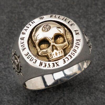 Gothic Gold Skull Head Biker Band Silver Rings Punk Men's Fashion -