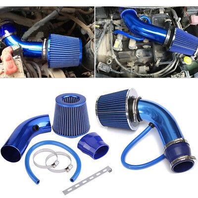 Air Intake Filter Induction Pipe Kit 3 Car Cold Hose System Blue Universal Set