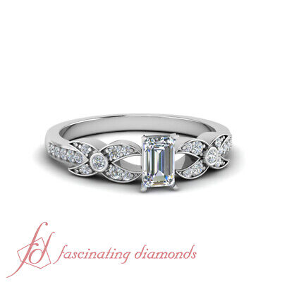 One Carat Pave Set Round Diamond Rings With GIA Certified Emerald Cut In Center