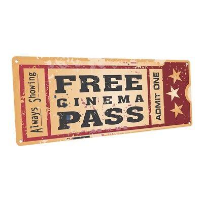 Home Cinema Movie Ticket  Metal Sign; Wall Decor for Home Theater or Family - Movie Theater Wall Decor