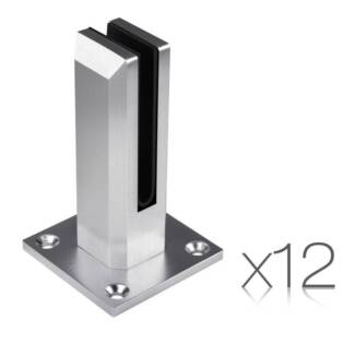 AUS FREE DEL-12x Frameless Glass Spigots Fencing Mount Square