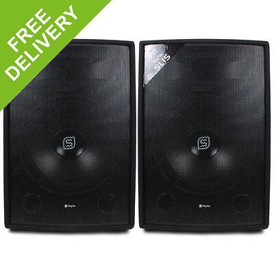 2x Skytec 15 Inch PA Speakers DJ Sound System 1600W