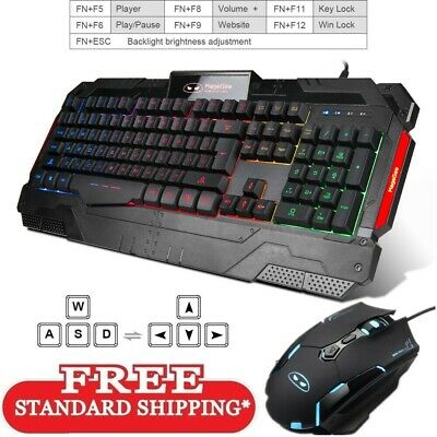 GK806 Wire Gaming Keyboard and Mouse Combo Backlit 104Key with Wrist Rest for PC