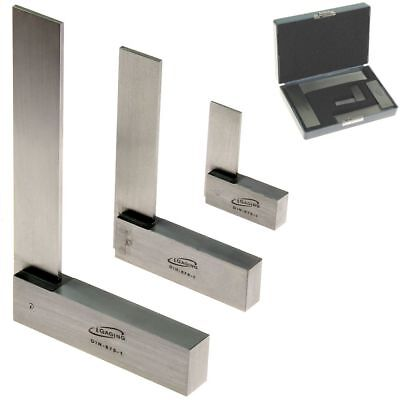 """Machinist Square 90º 3 pc Right Angle Engineer Set 2"""" 4"""" 6"""" DIN 875 iGaging"""