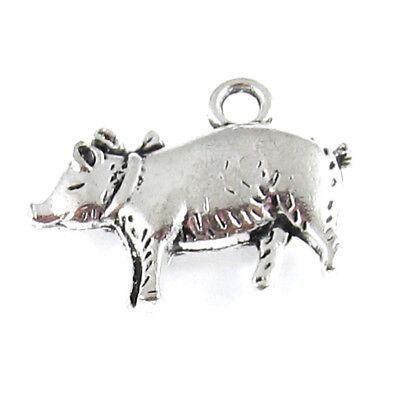 (Silver Pig Charms Metal Farm Hog 18x20mm (10 Pieces))
