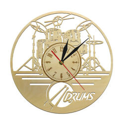 Drummers Personalized Drum Mute Wood Wall Clock Music Instrument Drum Kit Decor