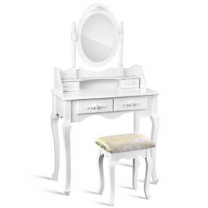 Artiss Provincial Dressing Table With Stool White