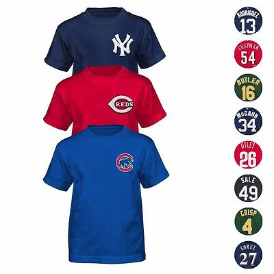 - MLB Majestic Player Name & Number Jersey T-Shirt Collection Boys Size (4-7)