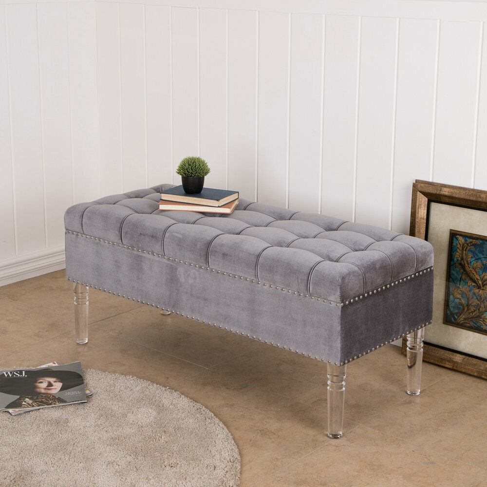 Incredible Details About Glitzhome High Quality Upholstered Tufted Bench Ottoman Storage W Acrylic Legs Squirreltailoven Fun Painted Chair Ideas Images Squirreltailovenorg