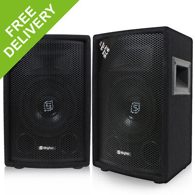 "Pair of Skytec 6"" Passive 2-Way DJ PA Speakers House Party Disco Setup 300W"