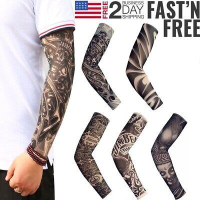 5pcs Skeleton Fake Tattoo Nylon Elastic Cool Arm Sleeve Sun UV Protection Cover - Fake Skeleton