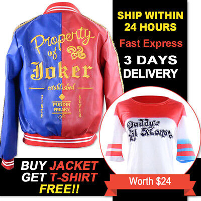 Suicide Squad Harley Quinn Property Of Joker Red&Blue Jacket Set Cosplay Custome