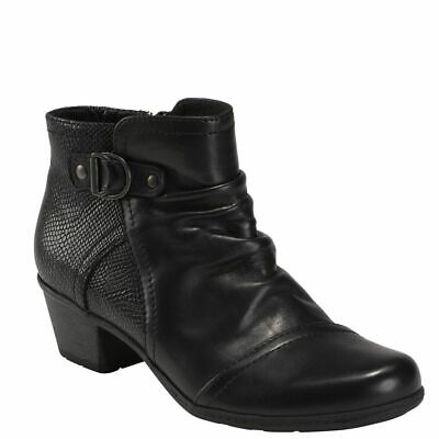 Women's Earth MALCOLM Black Side Buckle Accent Ankle Boot -