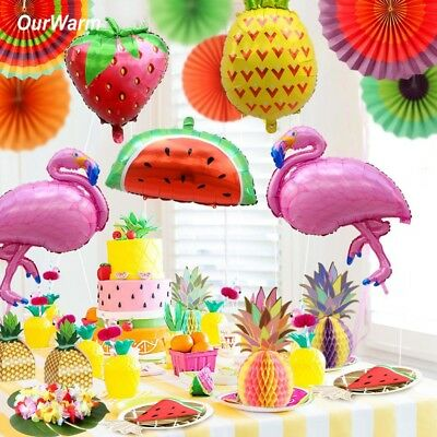 Pineapple Flamingo Decorations Beach Theme Hawaii Luau Birthday Carnival Party (Beach Birthday Theme)