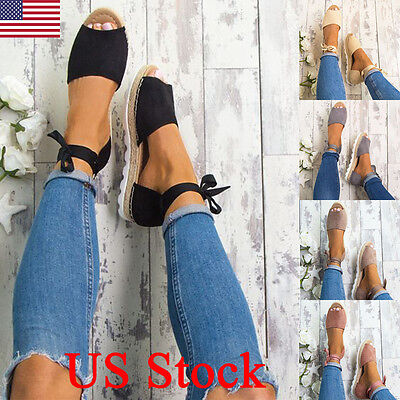 US WOMEN LADIES FLAT LOW WEDGE HEEL ESPADRILLES SUMMER SANDALS BEACH PUMPS -
