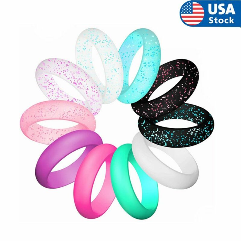 10pcs/set Womens Silicone Wedding Ring Rubber Band Modern Durable Comfortable Us