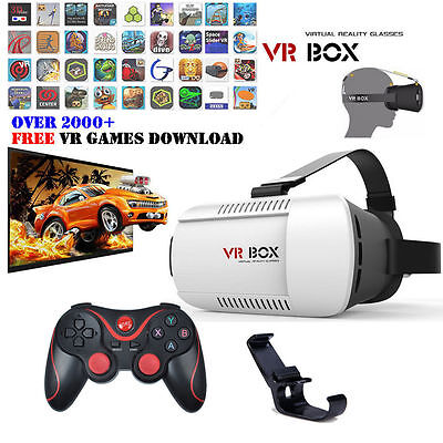 VR BOX Virtual Reality 3D Glasses Headset Helmet + Bluetooth Control +Phone Clip