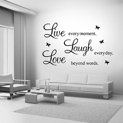 Home Decoration - Live Laugh Love Family Home Quote Wall Stickers Art Room Removable Decals DIY
