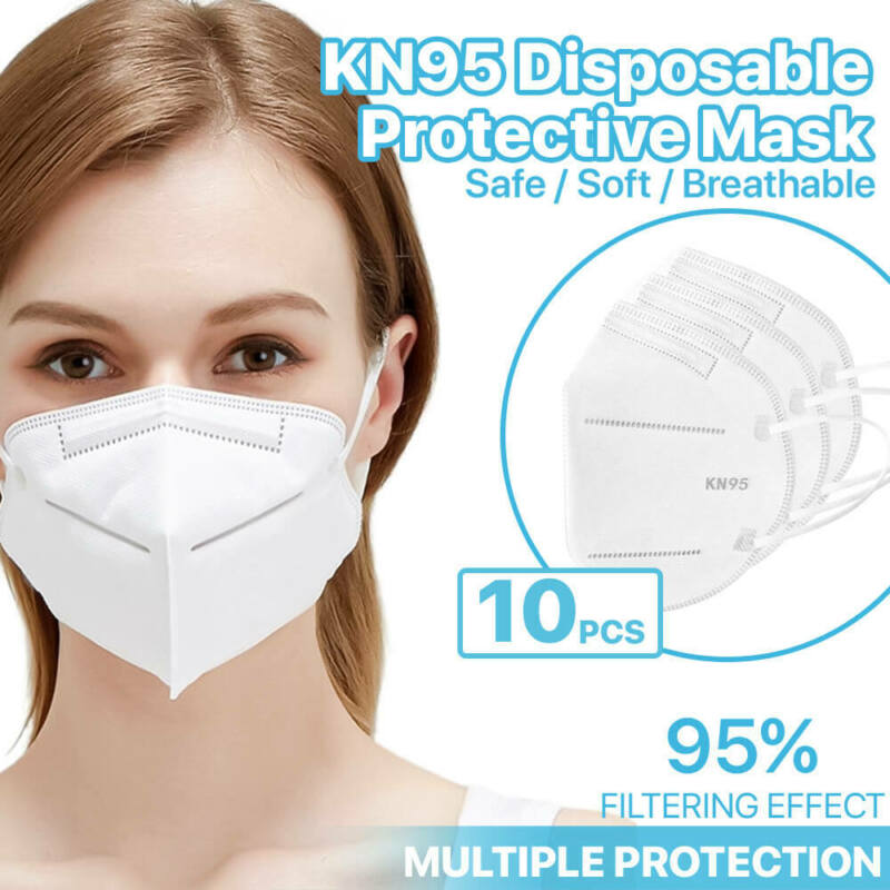 [10 Pack] Kn95 Face Mask 95% Filter Disposable Respirator 5-ply Protective Cover