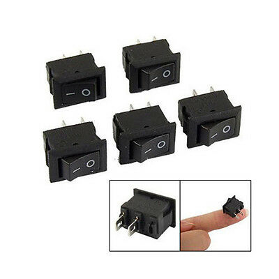 5pcs Spst Light On Off Black Square Rocker Toggle Switch Mini Small Automotive