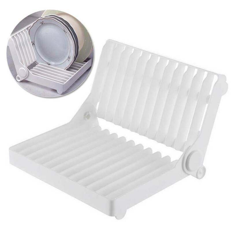 Foldable Dish Plate Drying Rack Organizer Drainer Plastic St