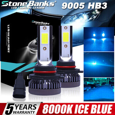 2PCS Mini 8000K Ice Blue 9005 HB3 LED Headlight Bulbs 120W 12000LM High Low