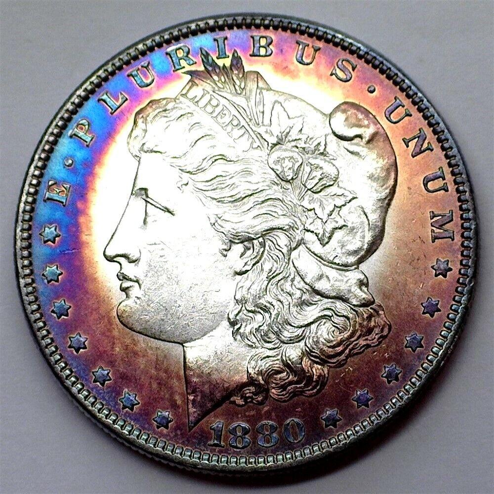 1880-O MORGAN SILVER DOLLAR NEAR GEM UNC PL VAM 6A BEAUTFUL COLOR TOP 100  - $224.50