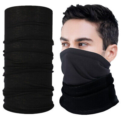 Black Multi-use Tube Scarf Bandana Head Face Mask Neck Gaiter Head -