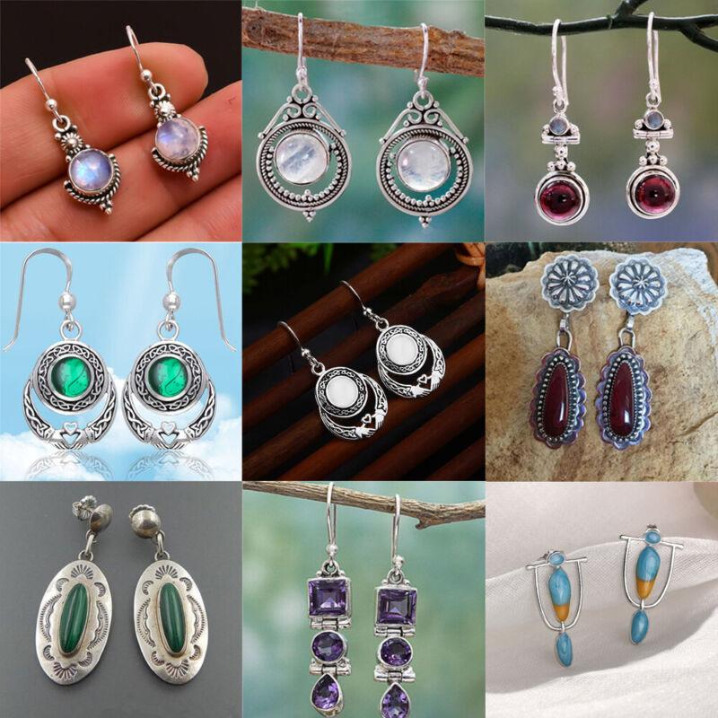 Fashion Silver Plated Moonstone Gemstone Ear Stud Drop Dangle Hook Hoop Earrings