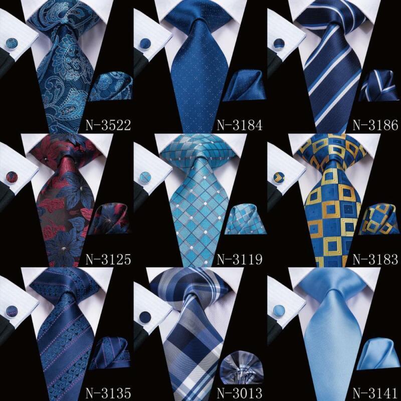 USA Classic Extra long Gold Blue Yellow Mens Tie Necktie Hanky Silk Jacquard