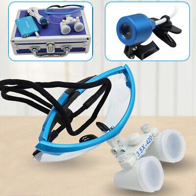 New Dental Surgical Binocular Loupes 3.5x 420mmled Head Lamp Light Box Blue Us