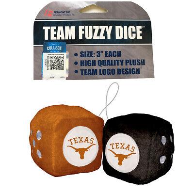 New NCAA Texas Longhorns Rear View Mirror Soft Plush Fuzzy Hanging Dice